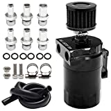 Top10 Racing Aluminum 350ml Oil Catch Can Tank Kit Polish Baffled Reservoir with Breather Filter&3/8