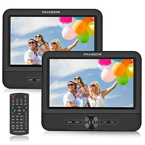 FANGOR Reproductor de DVD Portátil con 2 Pantallas 7.5  para Reposacabeza de Coche Soporta Tarjeta SD USB con Cargador de Coche Mando a Distancia