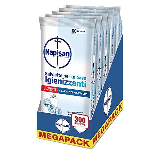 Napisan Salviette Igienizzanti senza Risciacquo per la Casa, Mega Pack da 5 Confezioni, 300 Pezzi