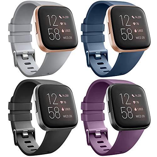 AK para Fitbit Versa Correa, Bandas Repuesto Ajustable Pulsera TPU Sport Accesorio Pulsera para Fitbit Versa Pequeño Grande (4-Pack Black+Navy Blue+Purple+Gray, L) ⭐