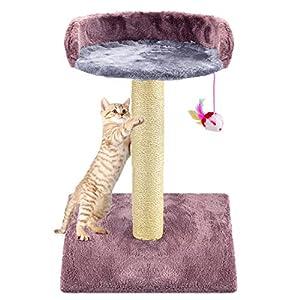 Zubita Rascadores para Gatos, Árbol para Gatos Arañazo Gatos Juguetes de Sisal Natural, Cat Toy Centro de Actividad para Gatitos con Peluche 9