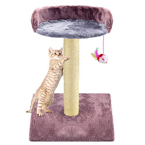 Zubita Tiragraffi per Gatti, Albero Tiragraffi per Gatti di Naturali Sisal Gatti Tiragraffi Scratching Post Cat per Gattino Gatto Gioca Tower Activity Center con Peluche