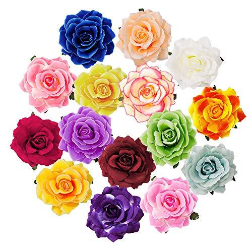 Perfetsell Hebillas de Pelo de Flor, 15 Pcs Clips de Pelo de Rosa, Pinzas de Pelo, Pinzas para Pelo...