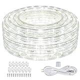 SHPODA 66ft/20m 720 LEDs Rope Lights,3000K Warm White,Plugin 110V,Waterproof Indoor Outdoor LED Rope String Lights for Garden Patio Wedding Party