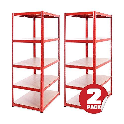 Garage Shelving Units: 180cm x 90cm x 60cm | Heavy Duty Racking Shelves for Storage - 2 Bay, Red 5 Tier (265KG Per Shelf), 1325KG Capacity | for Workshop, Shed, Office | 5 Year Warranty