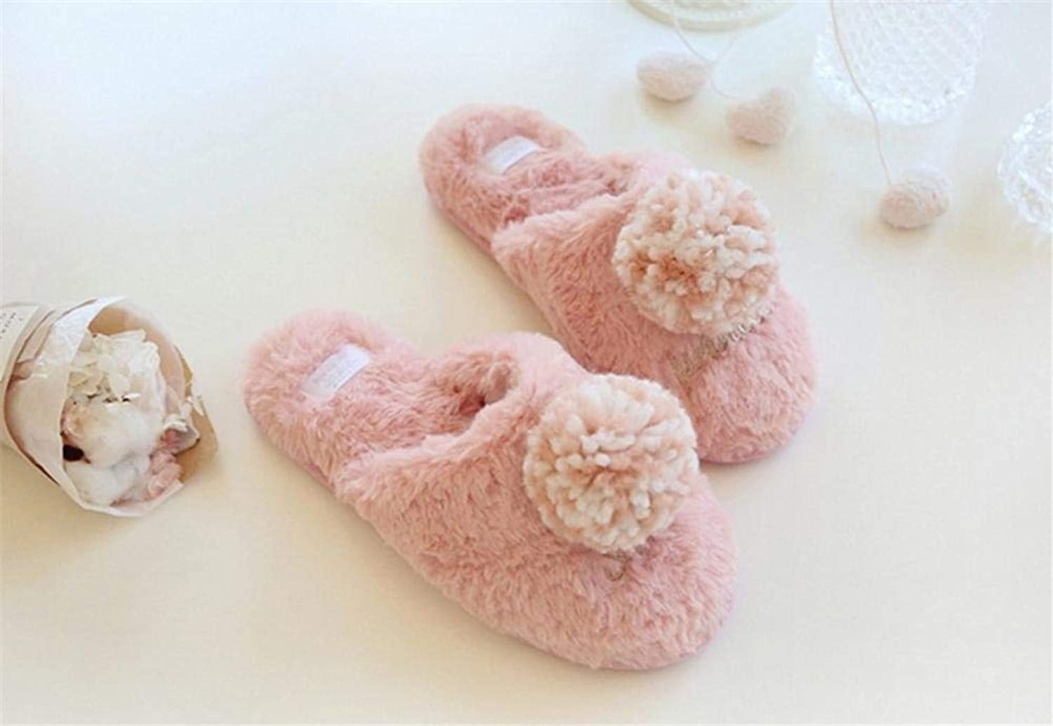 Lady Slippers Lady Imitation Rabbit Hair Super Soft Cotton Slippers Warm in Autumn and Winter Home Cute Fluffy Cotton Slippers Large Size