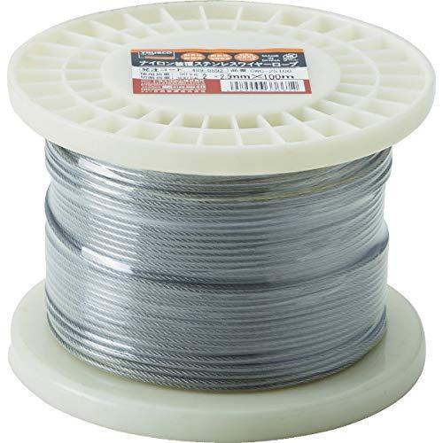 TRUSCO(トラスコ) ステンレスワイヤロープ ナイロン被覆 Φ2.0(2.5)mm×10 CWC-2S100