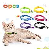 NINEMAX 6 Pcs Cat Collars with Bell Breakaway Cat Collar for Cats Personalized, Adjustable from 7.5-12.6',Easy to Put On and Take Off