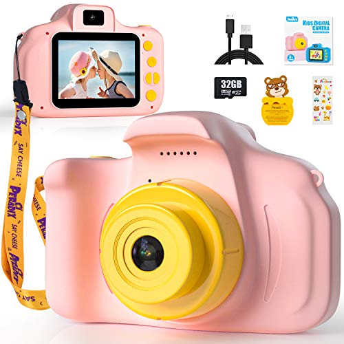 Peradix Cámara para Niños con Tarjeta de Memoria SD 32GB, Camara Foto Niños,1080P Doble Objetivo Cámara Digital para Niños, Cámara Infantil, Regalos de Juguete para Niños(Rosa)