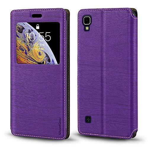 Capa para LG X Power, capa de couro de grão de madeira com suporte de cartão e janela, capa flip magnética para LG X Power