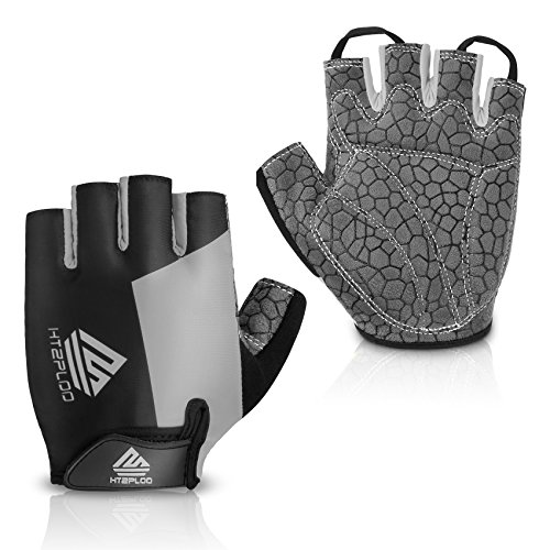 HTZPLOO Bike Gloves Cycling Gloves Mountain Bike Gloves for Men with Anti-Slip Shock-Absorbing Pad,Light Weight,Nice Fit,Half Finger Biking Gloves (Gray,Small)