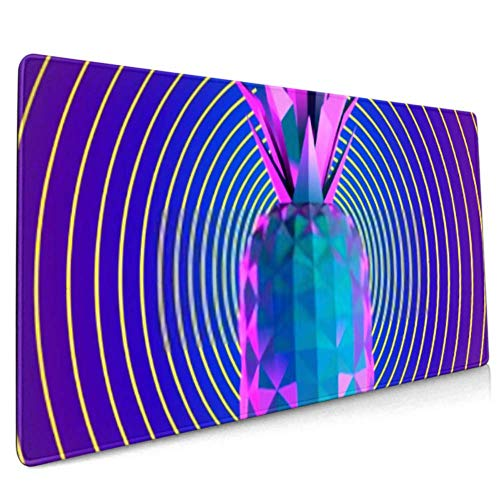 Long Mousepad (35.5x15.8in) Psychedelic Vaporwave Pine On Retro Background Desk Pad Keyboard Mat, Non-slip Base, Water-resistant, For Work & Gaming,