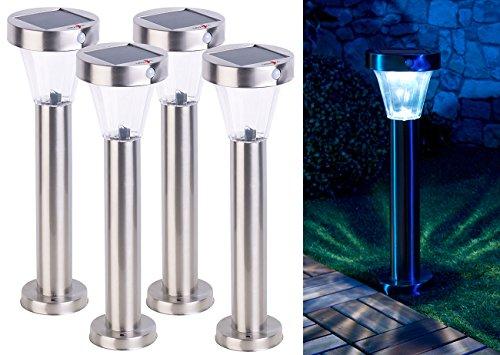 4 Lanternes de jardin solaires Silva en acier inoxydable [Lunartec]