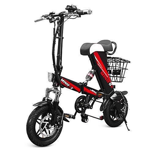 Bicicleta Electrica, Roeam Bicicletas Eléctricas Asistida Plegable de 12 Pulgadas, Motor sin Escobillas 250W, Ciclomotor con Canasta Extraíble, E-Bike para Viajes a la Ciudad