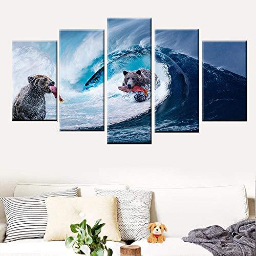 Zqylg Venta caliente arte de la pared pintura en lienzo 5 piezas impresión HD oso ola gigante captura de peces cartel pintura abstracta moderna decoración del hogar 30x50 30x70 30x80 sin marco
