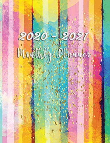 2020-2021 Monthly Planner: Two years Organizer Calendar Personalized January 2020 up to December 2021 Contains extra lined pages to record notes Focus ... Cover design Colorful Watercolor Stripe