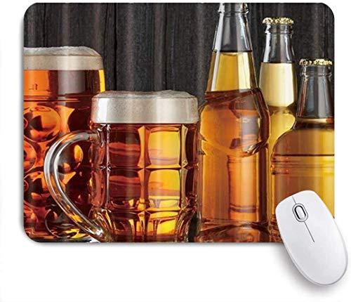 Gaming Mouse Pad rutschfeste Gummibasis, riesiges Bier und Flasche, für Computer Laptop Schreibtisch