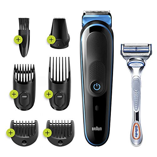 Braun MGK3242 Tondeuse 7-En-1 - Tondeuse à cheveux et barbe, Tondeuse Corps, Visage Noir/Bleu