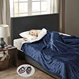 Woolrich Heated Plush to Berber Electric Blanket Throw Ultra Soft Knitted, Super Warm and Snuggly Cozy with Auto Shut Off and Multi Heat Level Setting Controllers, Full: 80x84, Indigo