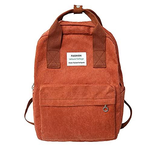 XYBB Mochila infantil Tendencia Mochila Moda Mujer Mochila Universidad Mujer Mochila escolar Harajuku Bolsos de hombro de viaje para adolescentes 36CMx27CMx11CM Paquete de bolso naranja