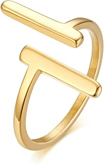 Ximi Jewelry Stainless Steel Fashion Parallel Line Simple Ring for Women, Gold Plated, Size 6-8