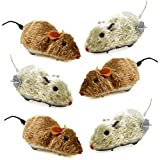 6 Halloween Mice Decoration Wind Up Realistic Furry Mouse Brown & Grey Hairy Scary Creepy Spooky Props For Adult Kid Children Play Windup Racing Running Moving Large Plastic Fake Gag Prank Toy 6.75'