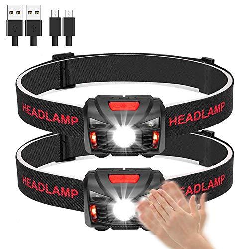 Linkax Linterna Frontal LED USB Recargable Linterna de Cabeza Alta Potencia Luz Frontal Lampára de Cabeza con 5 Modos Para Ciclismo Senderismo Camping Pesca(2 Pack)