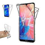 REY - Funda Carcasa Gel Transparente Doble 360º para Huawei Y7 2019 - Y7 Pro 2019, Ultra Fina 0,33mm, Silicona TPU de Alta Resistencia y Flexibilidad