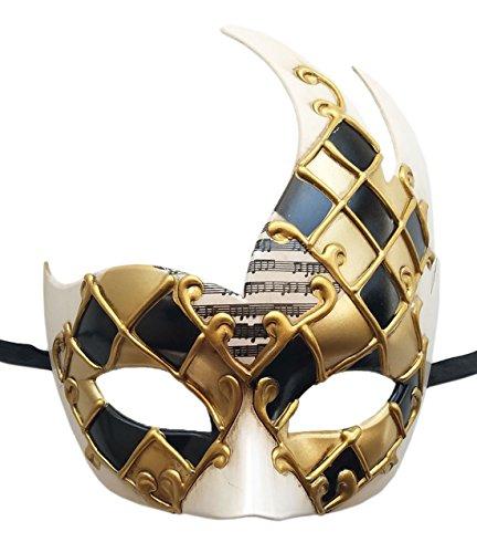 Coolwife Men's Masquerade Mask Vintage Venetian Checkered Musical Party Mardi Gras Mask (C Gold/Black)