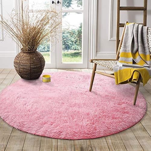QUANHAO Alfombra de Terciopelo esponjosa súper Suave para Interiores, Linda Alfombra de Dormitorio esponjosa, Adecuada para cojín de sofá de baño (Rosado, 100x100cm)