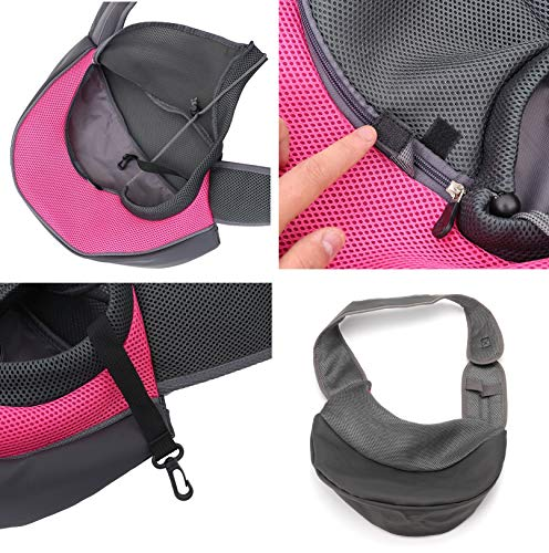 Lovefish Pet Dog Sling Carrier, Small Dog Outdoor Travel Bag Hands Free Front Pack Chest Carrier with Breathable Mesh Pouch for Puppy Cat Small Dog(Pink, 6lb) 5