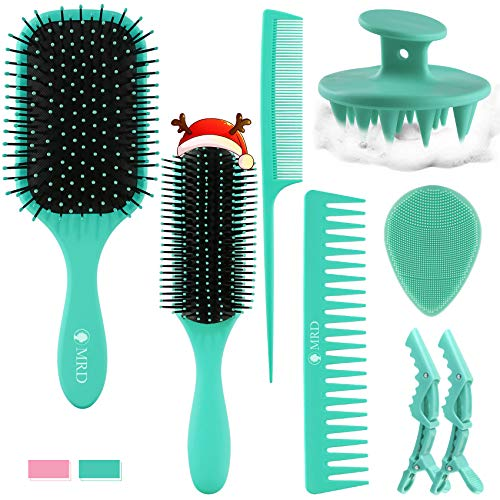 8 Pcs Hair Brush Kit For Men Women Set with Detangler Styling Brush Combs Scalp Massager Face Brush and Clips Great On Wet or Dry Hair No More Tangle For Thick Thin Curly Natural Hair Green