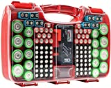 The Battery Organizer Storage Case with Hinged Clear Cover, Includes a Removable Battery Tester, Holds 180 Batteries Various Sizes Red…, Model Number: TBO2682