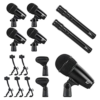 XTUGA New MI7 7-Piece Wired Dynamic Drum Mic Kit (Whole Metal)- Kick Bass, Tom/Snare & Cymbals Microphone Set - Use for Drums, Vocal, Other Instrument Complete with Thread Clip, Inserts, Mics Holder
