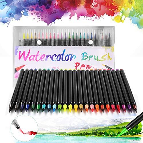 DazSpirit 24 Pennarelli Acquerellabili Brush Pen Lettering + 1 Pennello Acqua per Calligrafia, Lettering, Schizzi e Disegni Disegno a Colori da Colorare A Base d'Acqua, Versatile