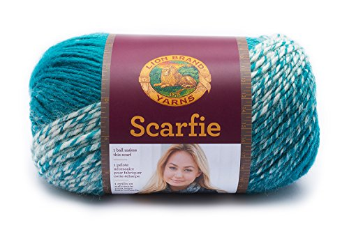 Lion Brand Yarn 826-215 Scarfie Yarn, One Size, Cream/Teal