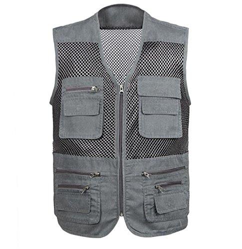 ZGJQ Heren Outdoor Mesh Vest Multi Pocket Casual Vest Vissen Fotografie Ademend Vest