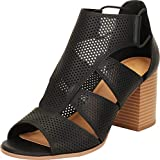 Cambridge Select Women's Open Toe Laser Cutout Perforated Caged Chunky Stacked Block Heel Sandal,7 B(M) US,Black PU
