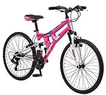 Mongoose Exlipse Full Dual-Suspension Mountain Bike for Kids Featuring 15-Inch/Small Steel Frame and 21-Speed Shimano Drivetrain with 24-Inch Wheels Kickstand Included Pink