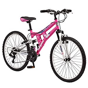 Mongoose Exlipse Full Dual-Suspension Mountain Bike for Kids, Featuring 15-Inch/Small Steel Frame and 21-Speed Shimano… -