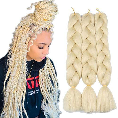 Original Jumbo Braids Hair Extension 3pcs Pure Black Color 24inch 100g/pc For Twist Box Braiding Hair (blonde)