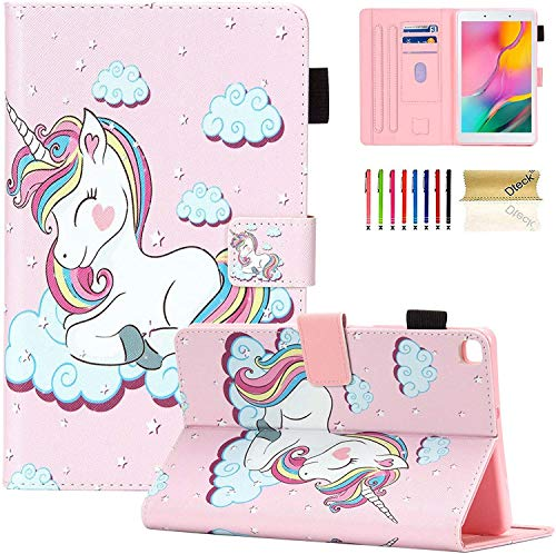 Galaxy Tab A 8.0 2019 Case, T290 T295 T297 Case, Dteck PU Leather Folio Flip Multi-Angle Viewing Stand Full Protection Case Cover for Samsung Galaxy Tab A 8.0 inch T290 T295 T297, Pink Unicorn