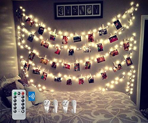 BestCircle 40 LED Photo Clip String Lights 20 Ft, Remote Control,Free Wall Hooks, USB Powered, Warm White, Timer, Christmas Card, Decoration, Wedding, Party, Christmas Lightings (2018 Version)