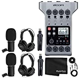 Zoom PodTrak P4 Portable Multitrack Podcast Recorder + 2x Zoom M-1 Mic + 2x...