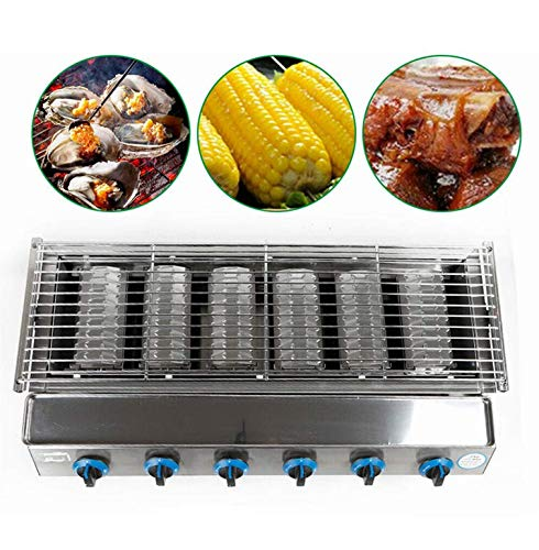 TBVECHI Smokeless BBQ Grill with 6 Burners, 2800PA Commercial LPG Gas BBQ Grill Outdoor Tabletop Picnic Camping Barbeque Roaster (6 Burners) Charcoal Grills