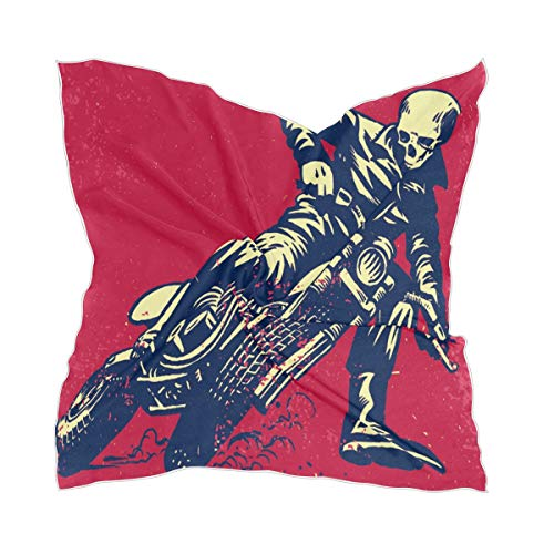TropicalLife LZXO Damen Schal Vintage Totenkopf Bikecycle Muster Quadratischer Schal Kopfschmuck Kopftuch Kopftuch Stirnband mit 10 x Bobby Pins – 60 x 60 cm
