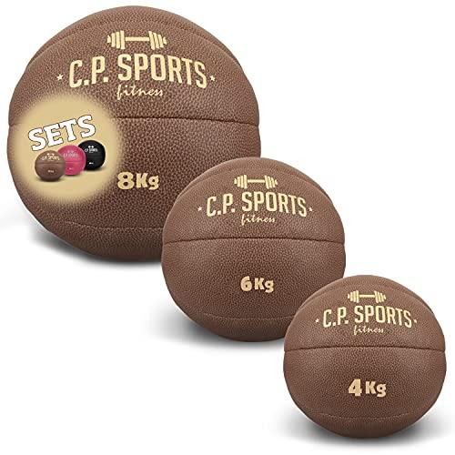 C.P. Sports - Juego de pelotas medicinales de piel sintética, color negro, marrón y rosa, pelota de fitness, pelota de entrenamiento, pelota de pesaje, bola de peso en juegos de 0,5 kg a 15 kg