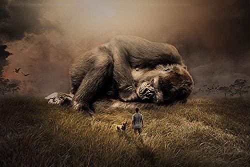 Animal Gorila Mono de Primates Mono de Mamíferos de África Rompecabezas para Adultos 1000 Pieza,Madera Rompecabezas de la Familia de que el Juego de la Colección de Juego Educativo de Arte para la Pa