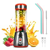 CHWARES Portable Blender Glass, Personal Size Blender Shakes and Smoothies Mini Jucier Cup USB Rechargeable, Fruit Juice, Milk Shakes, 12.8 oz, Six 3D Fans Blender Travel, Home, Picnic, Baby Food
