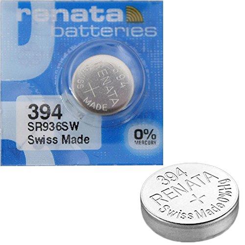 2 x Renata Uhrenbatterie - Swiss made Cells Silberoxid 0% Quecksilber Knopfzellen 1.55V Renata Batterien des langen Lebens 394 ( SR936SW )
